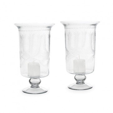 Two Wheat Pattern Etched Glass Candle Holders