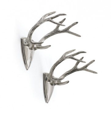Set of Two Polished Silver Antler Wall Hangers