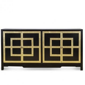 Draper Lacquered Greek Key Black Amp Gold Cabinet