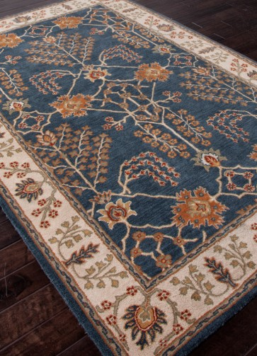 Hand Tufted Poeme Berries Wool Rug Navy