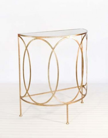 Aubrey Mirrored Demi-Lune Console Table