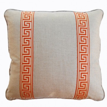 Greek Key Luxury Pillows Orange