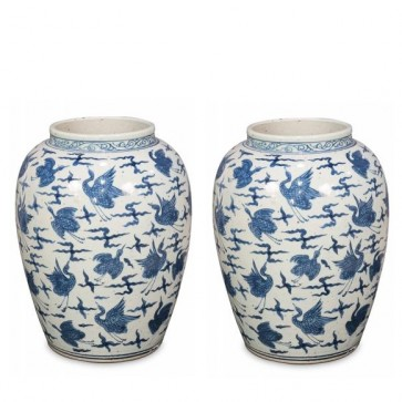 Pair of Two Blue & White Ming Birds Vase Jars