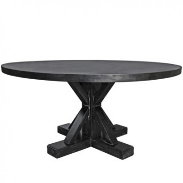 Marc Hand Rubbed Black Round Pedestal Table