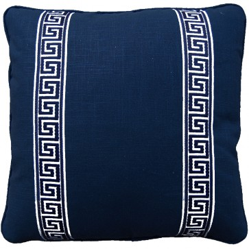 Greek Key Luxury Pillows Navy