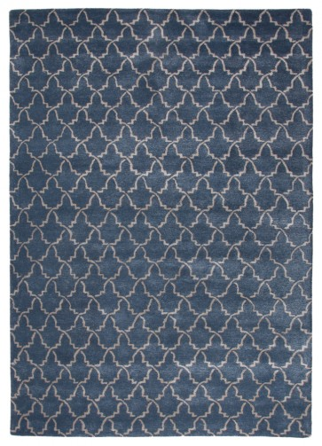 Plush Moroccan Tile Luxury Rug Steller Blue