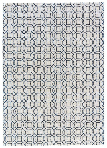 Plush Moroccan Tile Luxury Rug Blue & Ivory
