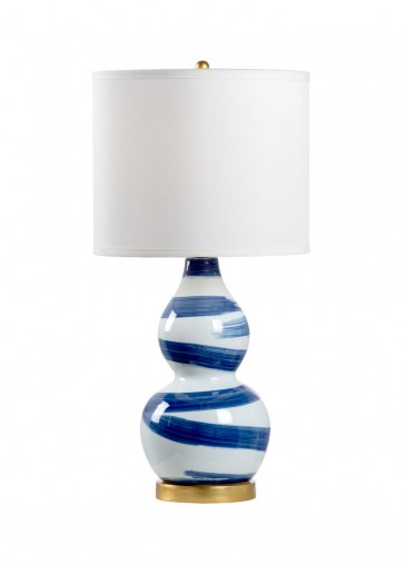 Luxury Blue Brush Strokes Gourd Lamp NEW!