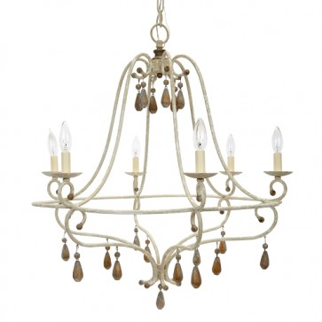 Orleans French Chandelier Washed White and Gold