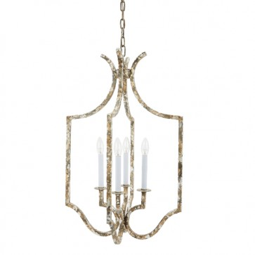 Antiqued Gold and Gray Pendant Chandelier