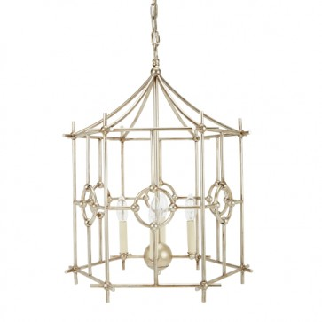 Pagoda Six Sided Lantern Chandelier Silver