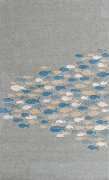 Plush Hand Tufted School of Fish Coastal Living Wool Rug (colors)