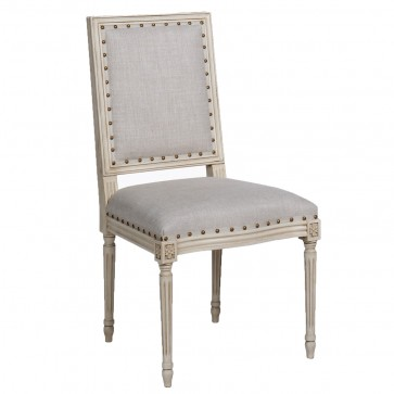 Luxury Cream and Gray French Dining Chair (Options)