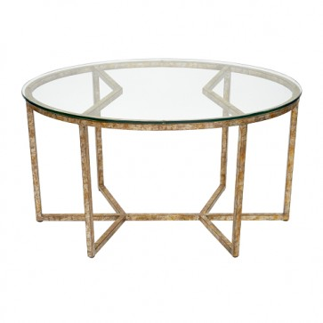 Antiqued Geo Oval Glass Coffee Table