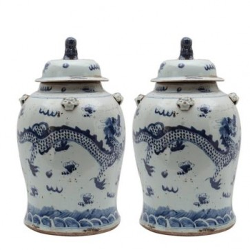 Pair Porcelain Blue and White Dragon Jars