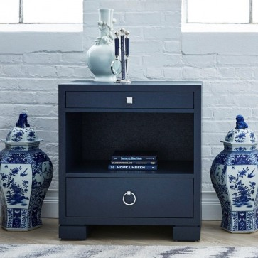 Bald Head Lacquered Grasscloth Nightstand