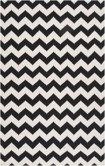 Chevron Wool Flat Weave Rug Black White Limited