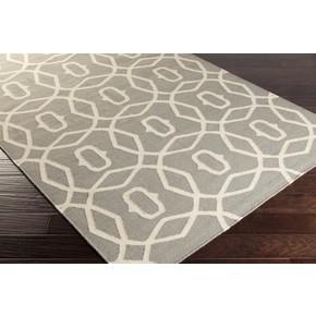Geometric Garden Gray Rug Flat Weave Wool Rug