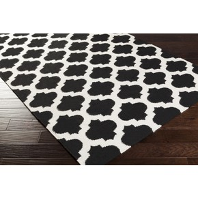 Moroccan Clover Black & White Rug Flat Weave Wool (Limited)