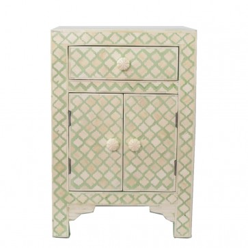 Bone Inlay Luxury French Chest and Nightstand Soft Mint