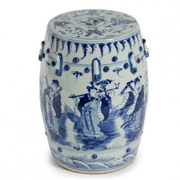 Blue & White Qing Dynasty Ceramic Garden Stool