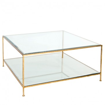 Southbury Gold Leaf Glass Square Coffee Table
