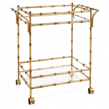 Antique Gold Bamboo Bar Cart