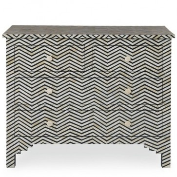 Bone Inlay Chevron Chest Black & White (Navy, Black or Blue!)