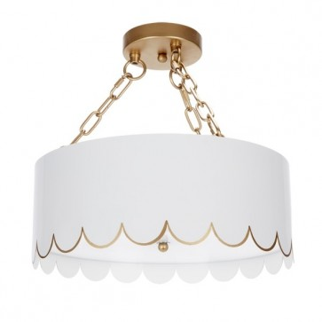 Lilly White Gold Scalloped Semi Flush (new)