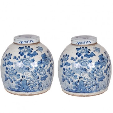 Set of Two Porcelain Bird Floral Ginger Jars