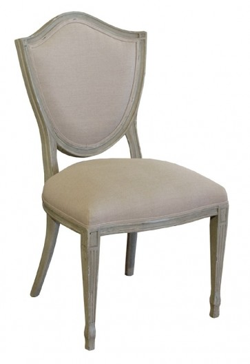 Parisian Grey Shield Back Linen Chair