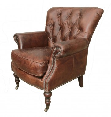 Lauren  Tufted Leather Club Chair