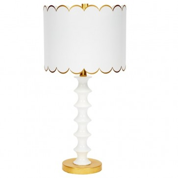Lilly White Gold Scalloped Buffet Table Lamp