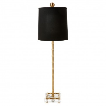 Gold or Silver Bamboo Square Base Lamp