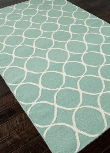 Circled In Turquoise Blue Flat Weave Wool Rug