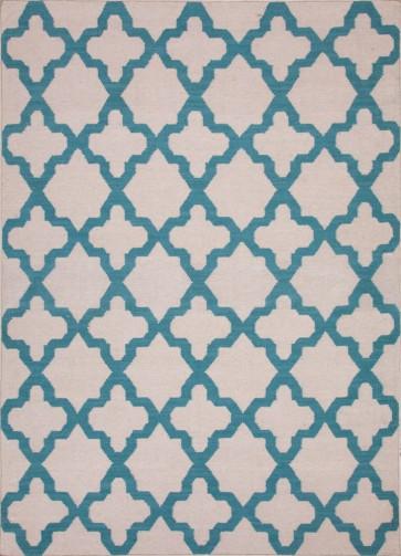Quatrefoil Maroc Aster Wool Rug Turquoise