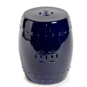 ceramic garden stool. Navy Cobalt Blue Classic Ceramic Garden Stool