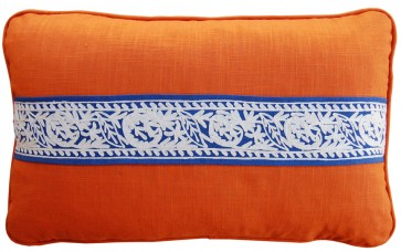 Linen and Crewel Tape Luxury Pillows Orange