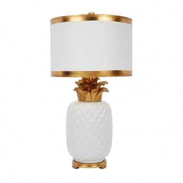 Newport Pineapple Lamp White and Gold