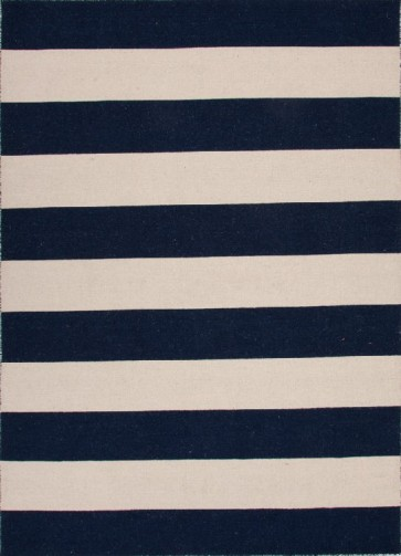 Striped Pura Vida Wool Rug Navy Blue & White