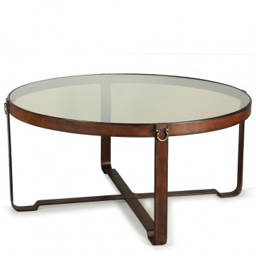 Polo Club Leather and Brass Coffee Table
