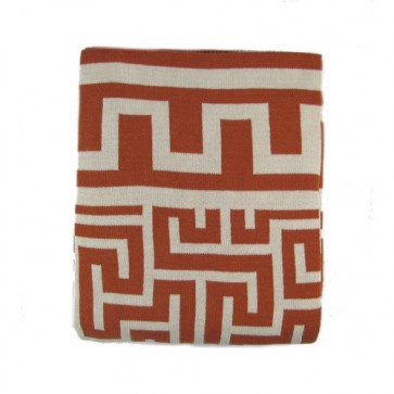 Greek Key Luxury Cotton Throw Blanket Persimmon