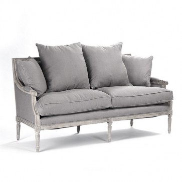 Louis Classic Down Settee and Sofa in Gray (Sizes)