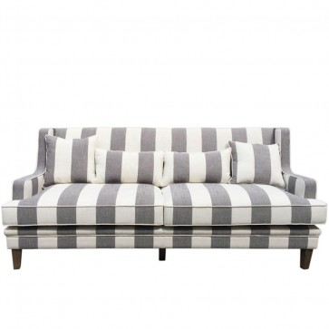 Gray And White Striped Sofa