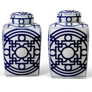 Classic Blue and White Geometric Temple Jar
