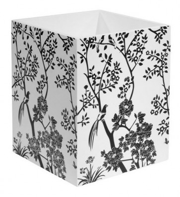 Black and White Toile Waste Basket