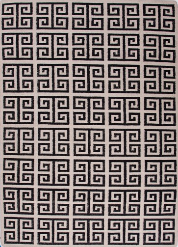 Greek Key Flat Wool Rug Black & White LIMITED