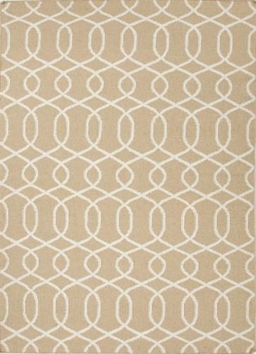 Greek Patterned Flat Wool Rug Khaki Gray