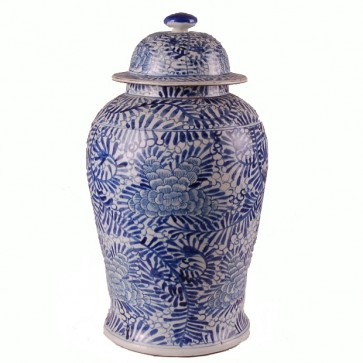 Palm Theme Blue White Ginger Jar