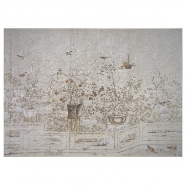 Entire Wall Mural Chinoiserie Cream Garden